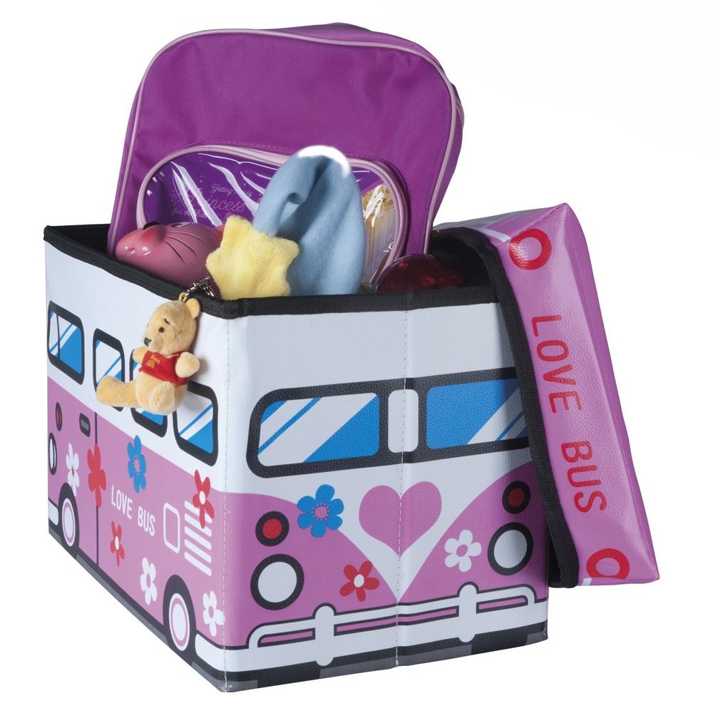 Pouf pliable coffre jouets pour enfants happy bus rose - Coffre a jouet rose ...