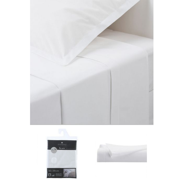 drap plat 1 personne 180x290 cm 100 coton blanc maison fut e. Black Bedroom Furniture Sets. Home Design Ideas