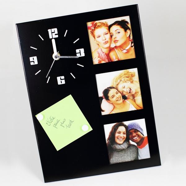 horloge de table avec cadre photos noir maison fut e. Black Bedroom Furniture Sets. Home Design Ideas