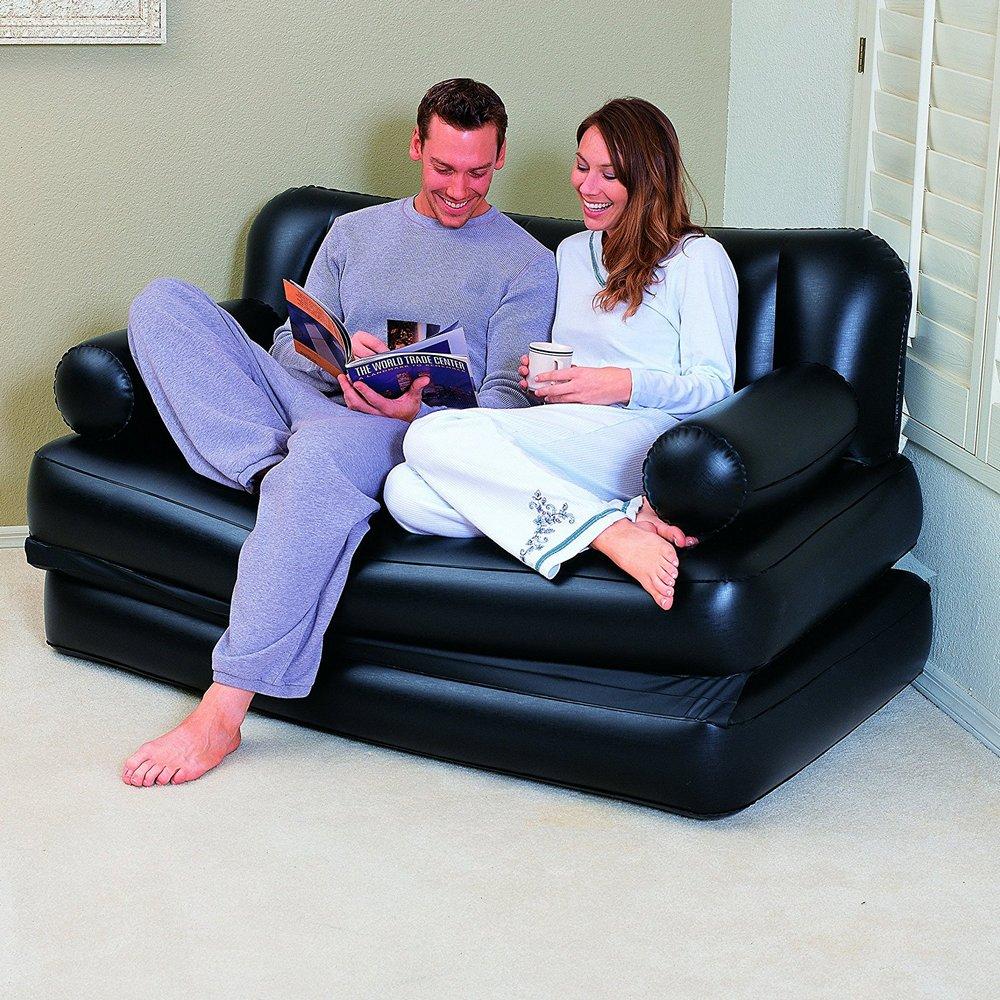 Canap lit gonflable 3 en 1 noir pompe incluse maison fut e - Matelas gonflable avec pompe ...