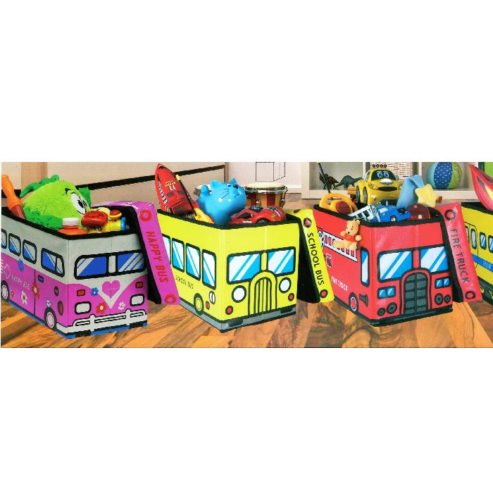 pouf pliable coffre jouets pour enfants camion de pompier rouge maison fut e. Black Bedroom Furniture Sets. Home Design Ideas