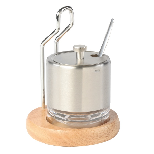 Sucrier et cuill re inox support bois d 39 h v a maison fut e for Support inox cuisine