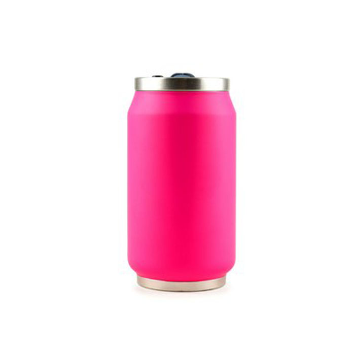 Canette Isotherme Fluo Rose 280 ml - Bouchon PUSH'n Drink