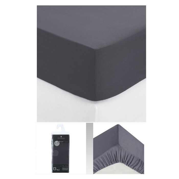 drap housse 2 personnes 140x190 cm 100 coton gris fonc maison fut e. Black Bedroom Furniture Sets. Home Design Ideas