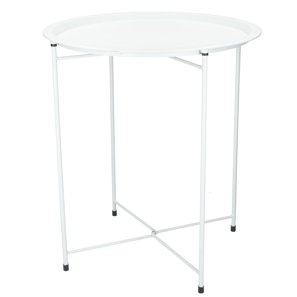 MétalDesserteGuéridon En Blanc Table D'appoint Pliable nPw80ONkX