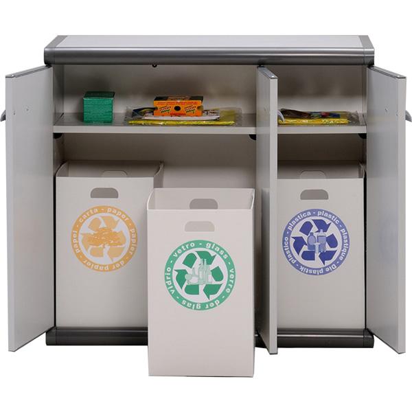 Armoire basse en plastique 3 portes 3 bacs de recyclage beige maiso - Poubelle recyclage maison ...