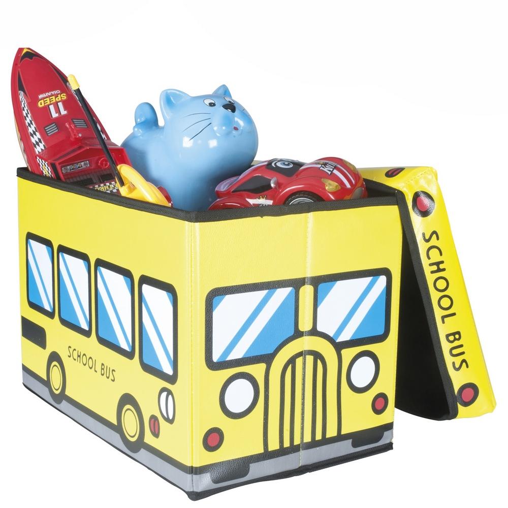 pouf pliable coffre jouets pour enfants bus scolaire jaune maison fut e. Black Bedroom Furniture Sets. Home Design Ideas