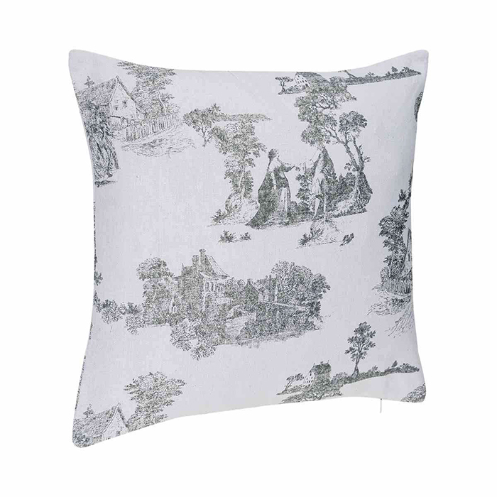 coussin imprim fa on toile de jouy gris maison fut e. Black Bedroom Furniture Sets. Home Design Ideas