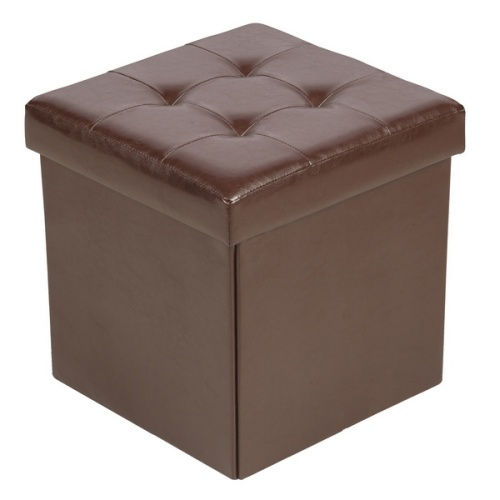 pouf de rangement pliable mod le marron maison fut e. Black Bedroom Furniture Sets. Home Design Ideas