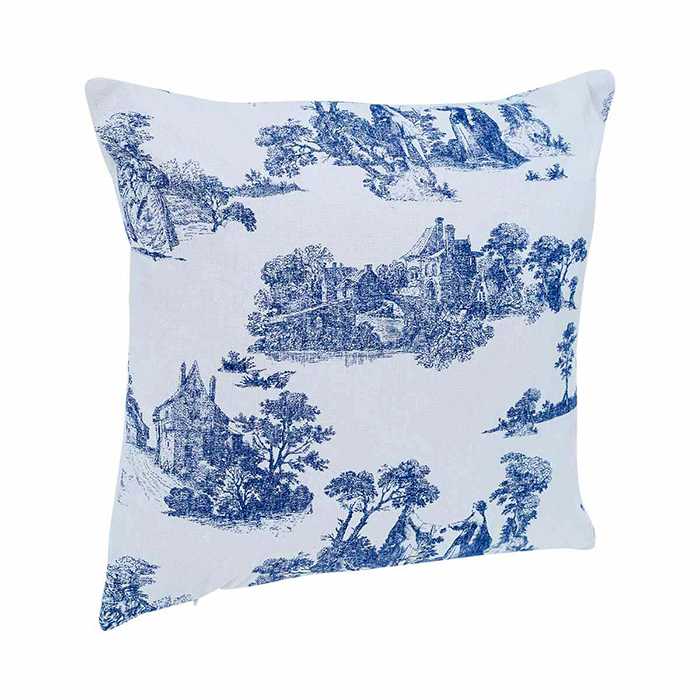coussin imprim fa on toile de jouy bleu maison fut e. Black Bedroom Furniture Sets. Home Design Ideas