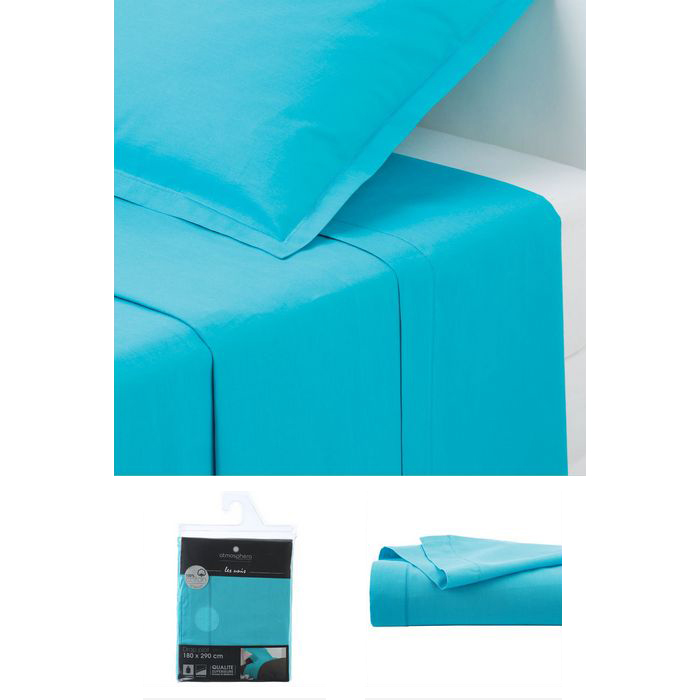 drap plat 1 personne 180x290 cm 100 coton turquoise maison fut e. Black Bedroom Furniture Sets. Home Design Ideas