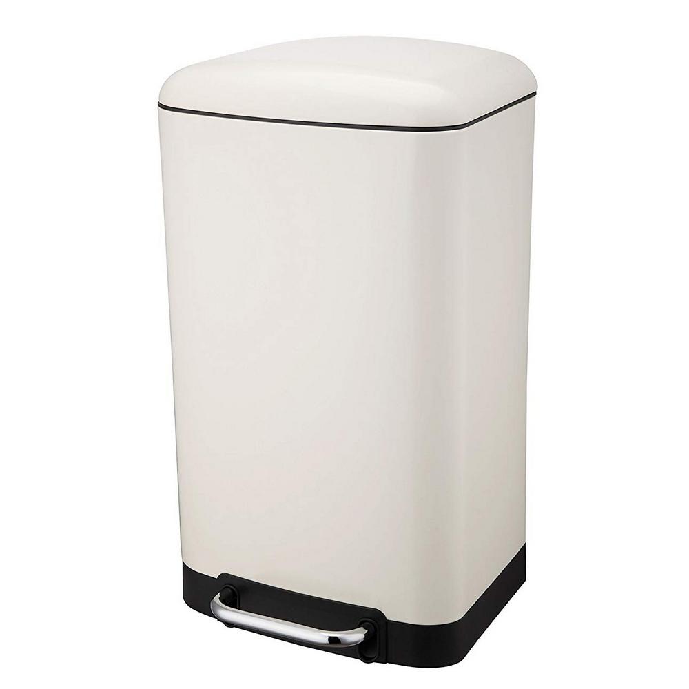 Poubelle Rectangulaire A Pedale 30 Litres Blanc Mat Maison Futee