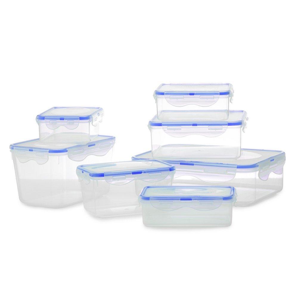 lot de 7 boites fraicheur de conservation alimentaire herm tique avec joint en silicone bleu. Black Bedroom Furniture Sets. Home Design Ideas