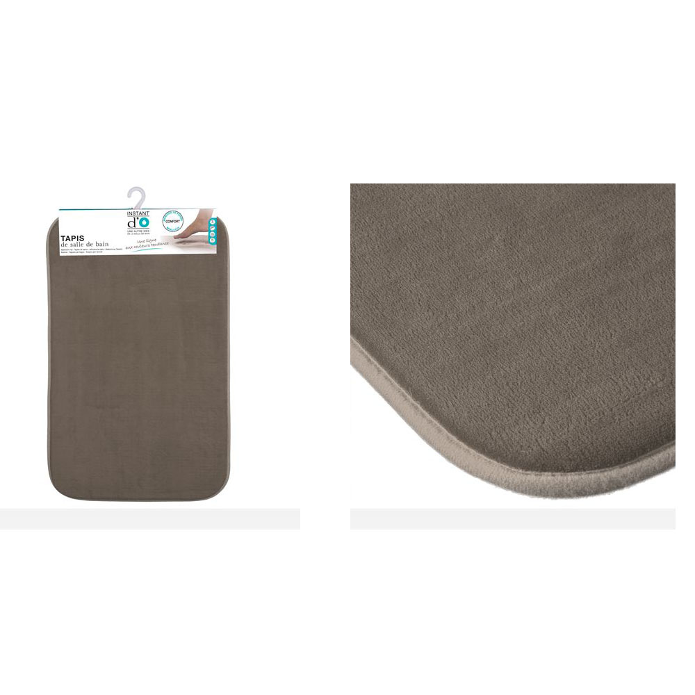 tapis de bain microfibre m moire de forme 80x50 cm taupe maison fut e. Black Bedroom Furniture Sets. Home Design Ideas