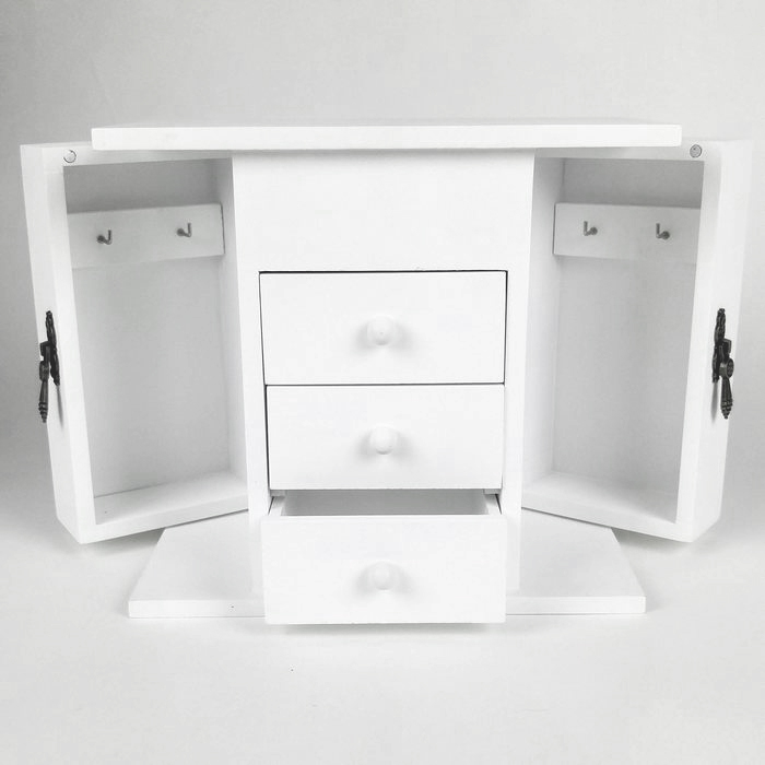 coffret bijoux en bois mdf blanc mat maison fut e. Black Bedroom Furniture Sets. Home Design Ideas