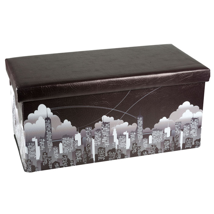 pouf pliable avec coffre de rangement mod le new york maison fut e. Black Bedroom Furniture Sets. Home Design Ideas