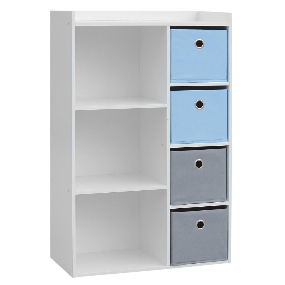 Meuble de rangement 3 niches et 4 tiroirs bleu et gris maison fut e - Meuble de rangement gris ...