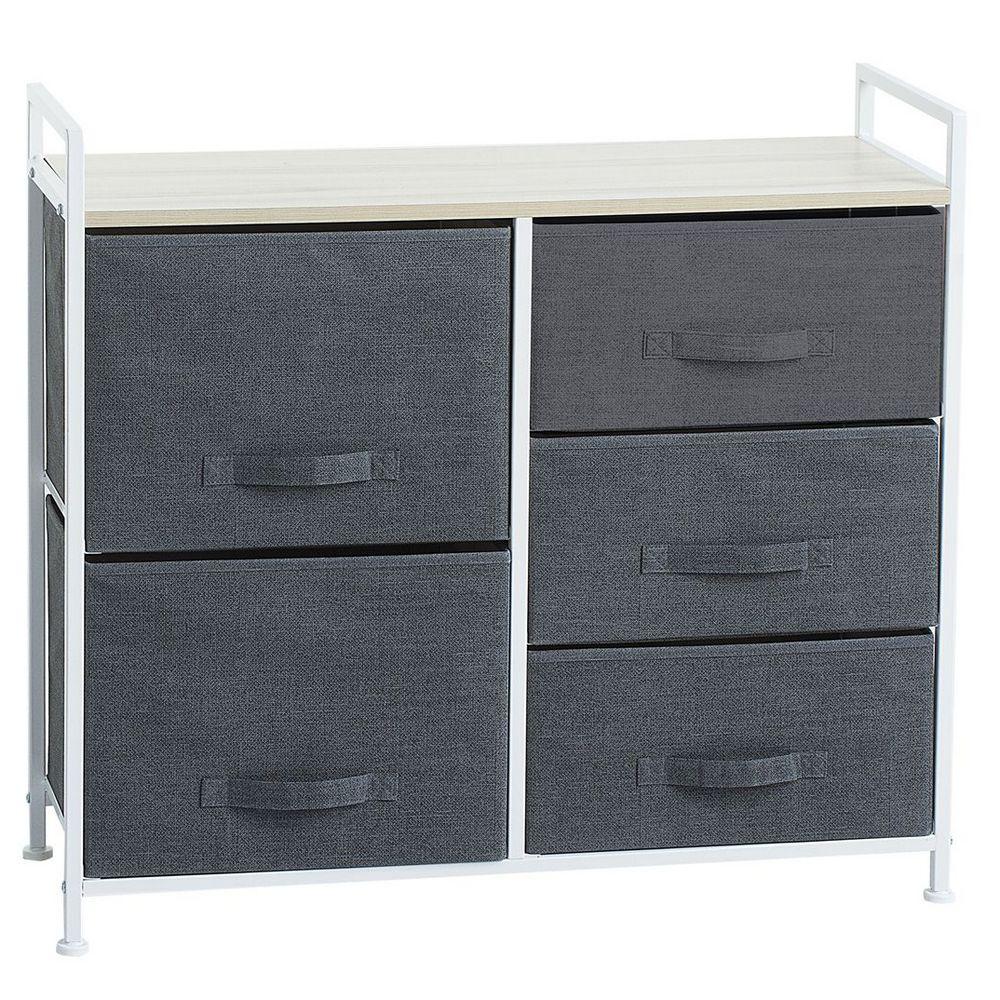 Meuble de rangement 5 tiroirs 83 cm gris fonc maison for Meubles 83