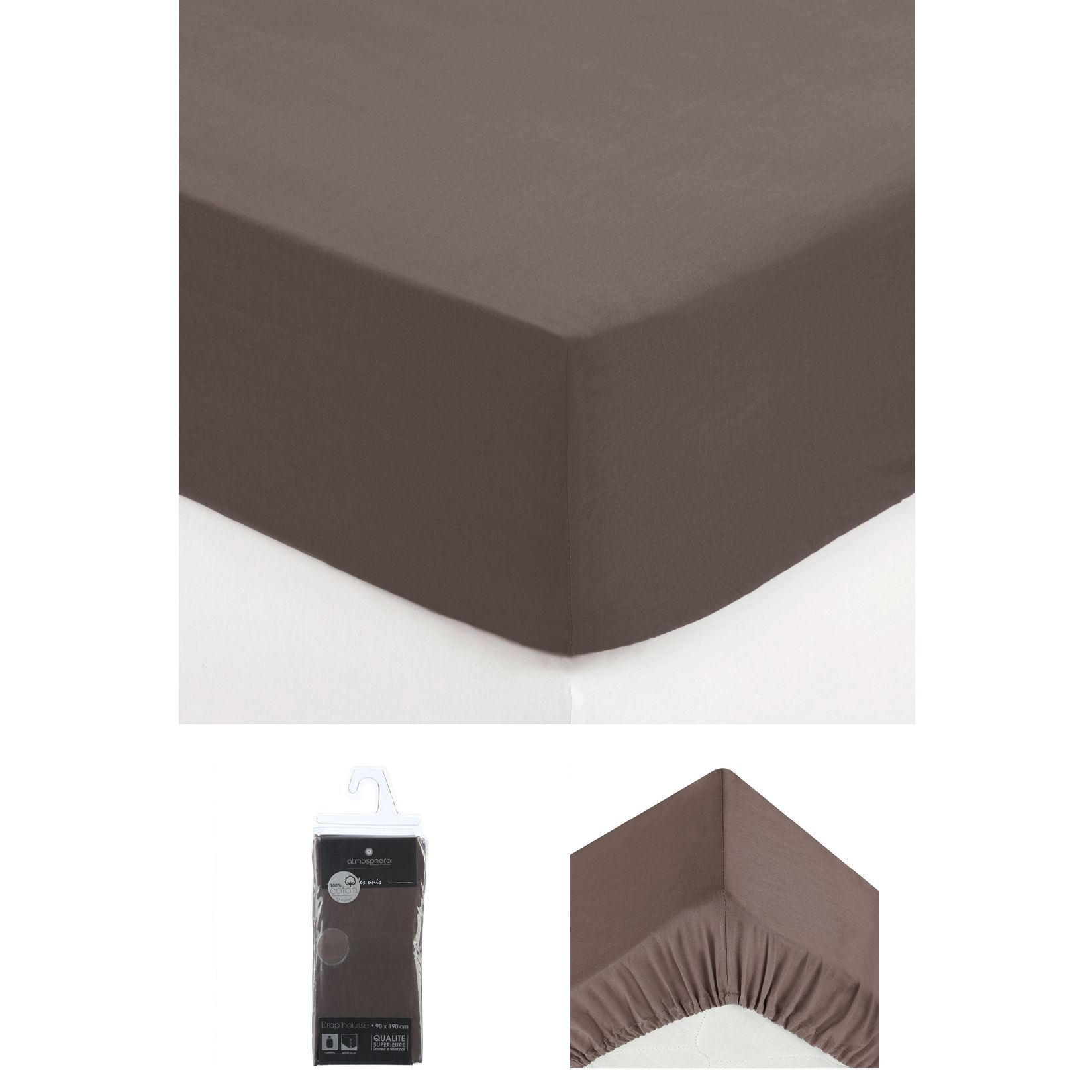 drap housse 2 personnes 140x190 cm 100 coton chocolat maison fut e. Black Bedroom Furniture Sets. Home Design Ideas