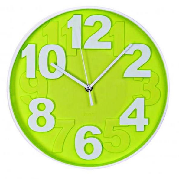 horloge murale design chiffres en relief 30 cm vert maison fut e. Black Bedroom Furniture Sets. Home Design Ideas