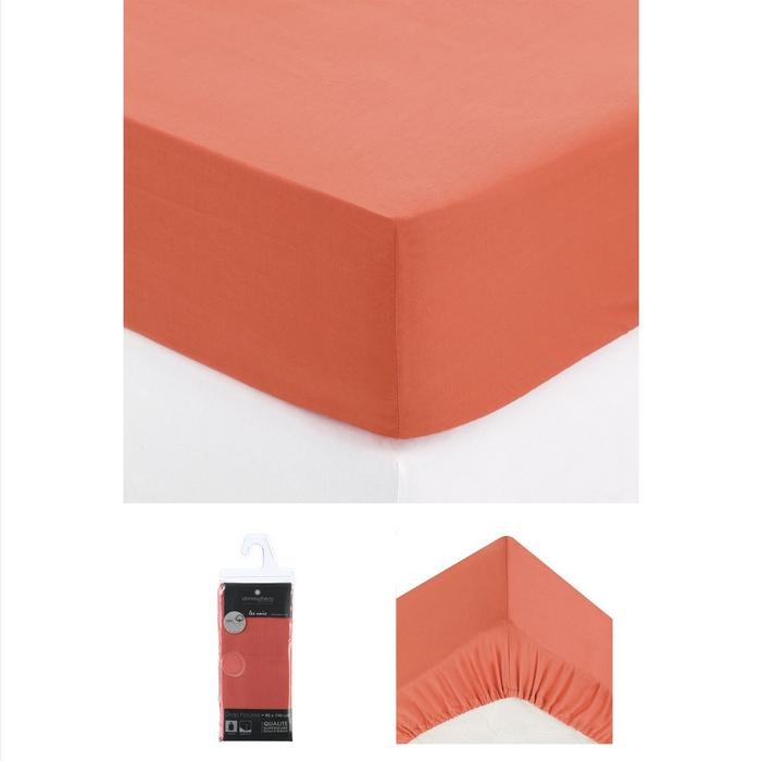 drap housse 1 personne 90x190 cm 100 coton tomette maison fut e. Black Bedroom Furniture Sets. Home Design Ideas