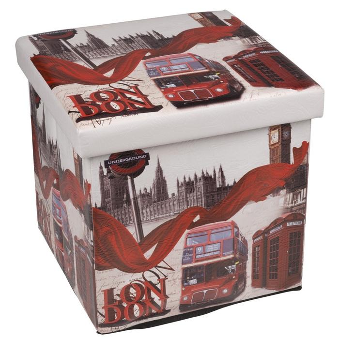 Pouf Londres Fille : Pouf déco pliable carré avec coffre de rangement modèle