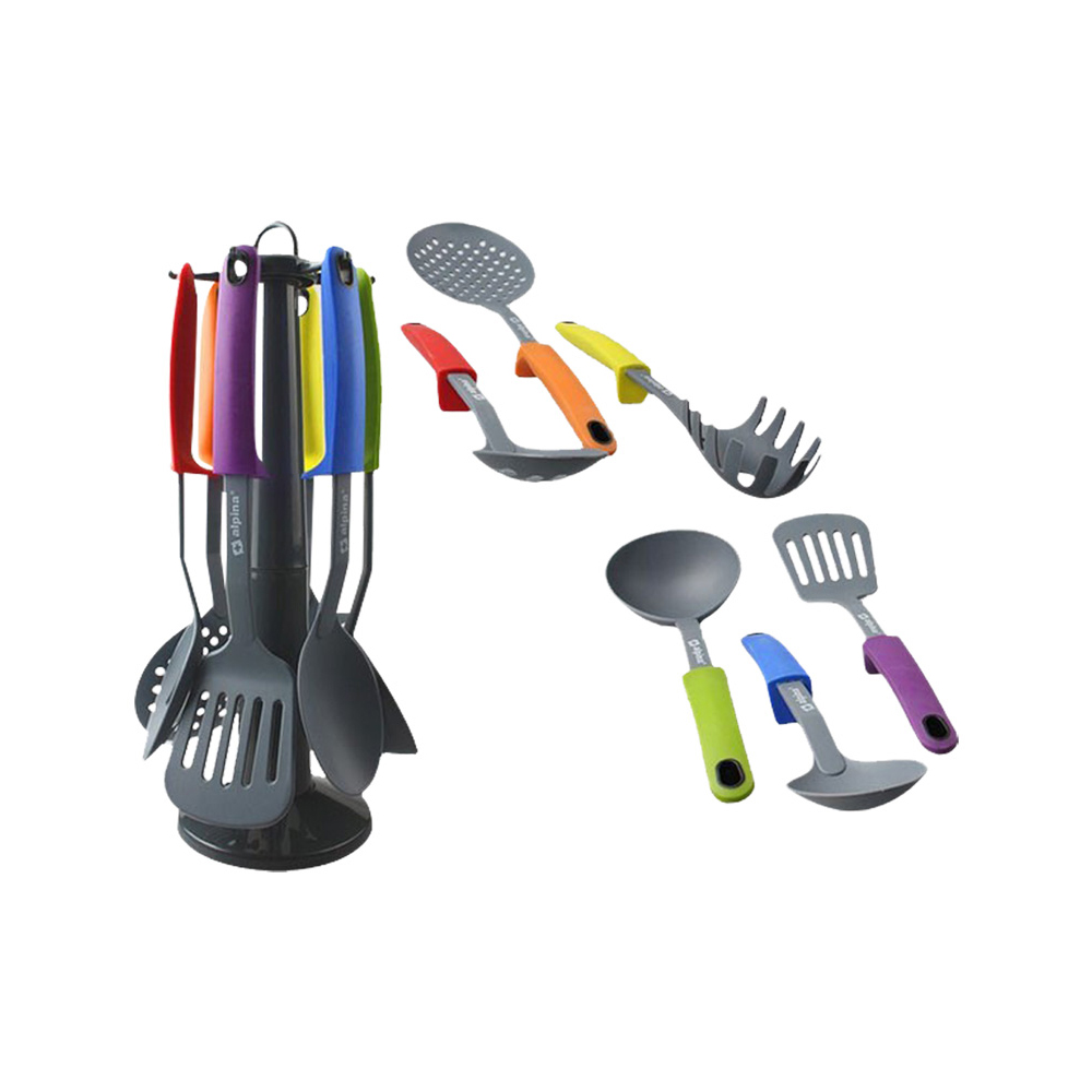 6 ustensiles de cuisine en nylon avec support rotatif - Marc veyrat ustensiles de cuisine ...