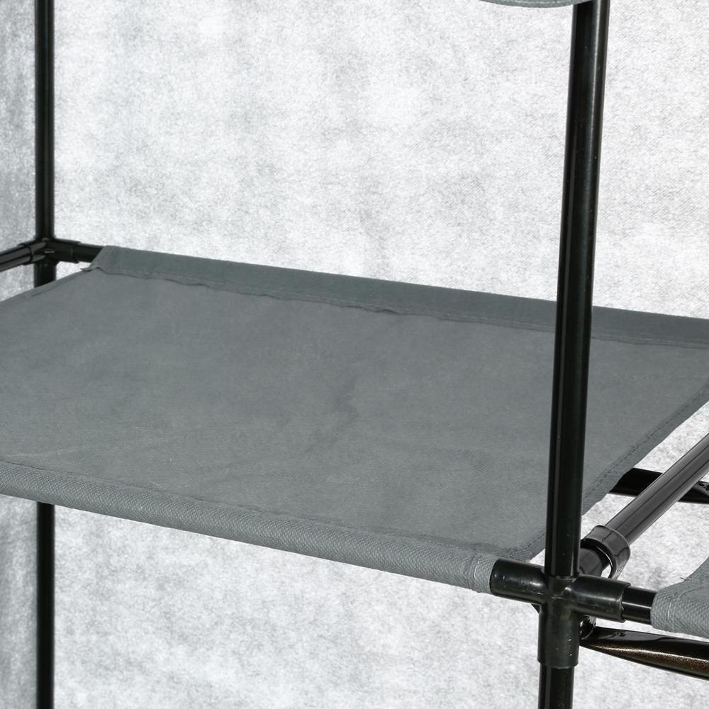 armoire 2 tag res penderie en toile non tiss e gris maison fut e. Black Bedroom Furniture Sets. Home Design Ideas