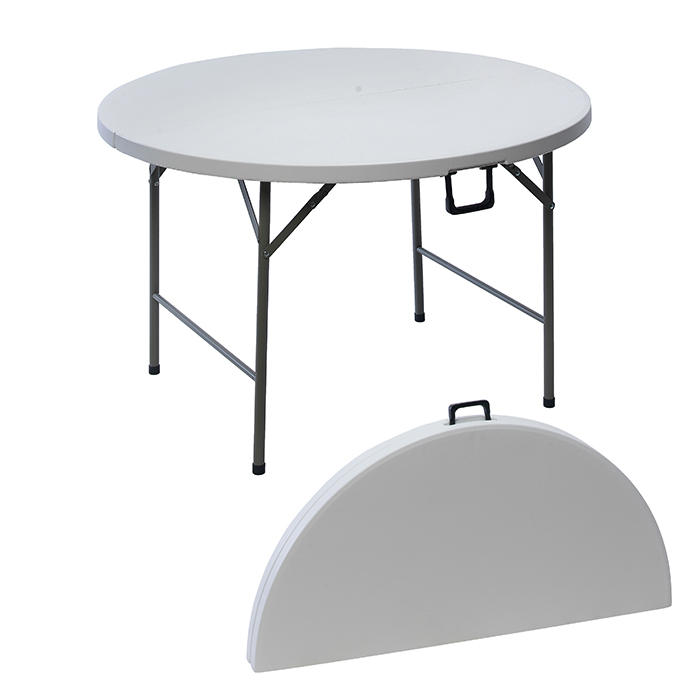 Table ronde pliante en r sine 122 cm maison fut e for Table de jardin ronde en resine blanche