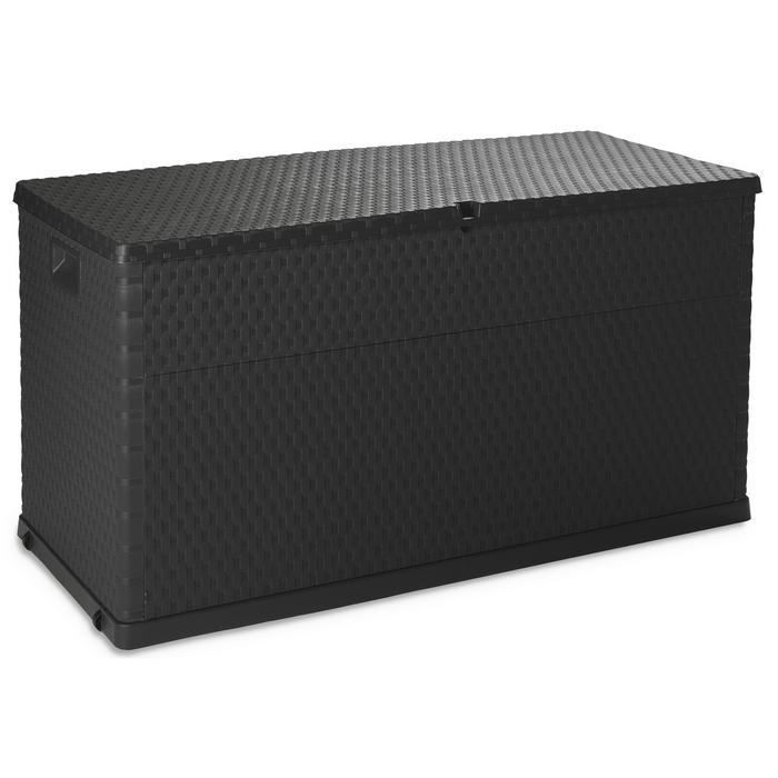 coffre de rangement multifonctions en r sine 420 litres aspect rotin tress anthracite. Black Bedroom Furniture Sets. Home Design Ideas