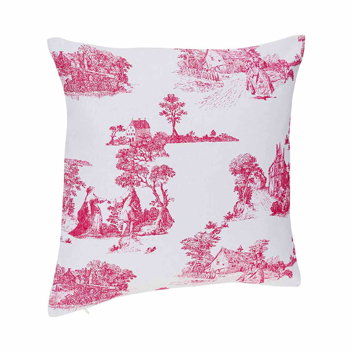 coussin imprim fa on toile de jouy rouge maison fut e. Black Bedroom Furniture Sets. Home Design Ideas