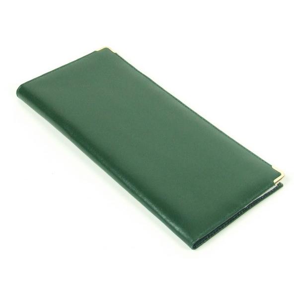 Porte ch quier long vert cuir v ritable maison fut e - Porte chequier long ...