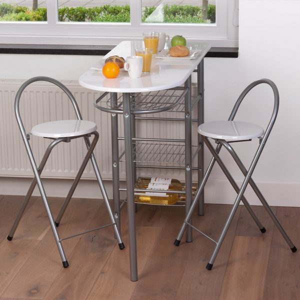 Ensemble table bar 2 tabourets blancs maison fut e for Table bar de cuisine avec rangement