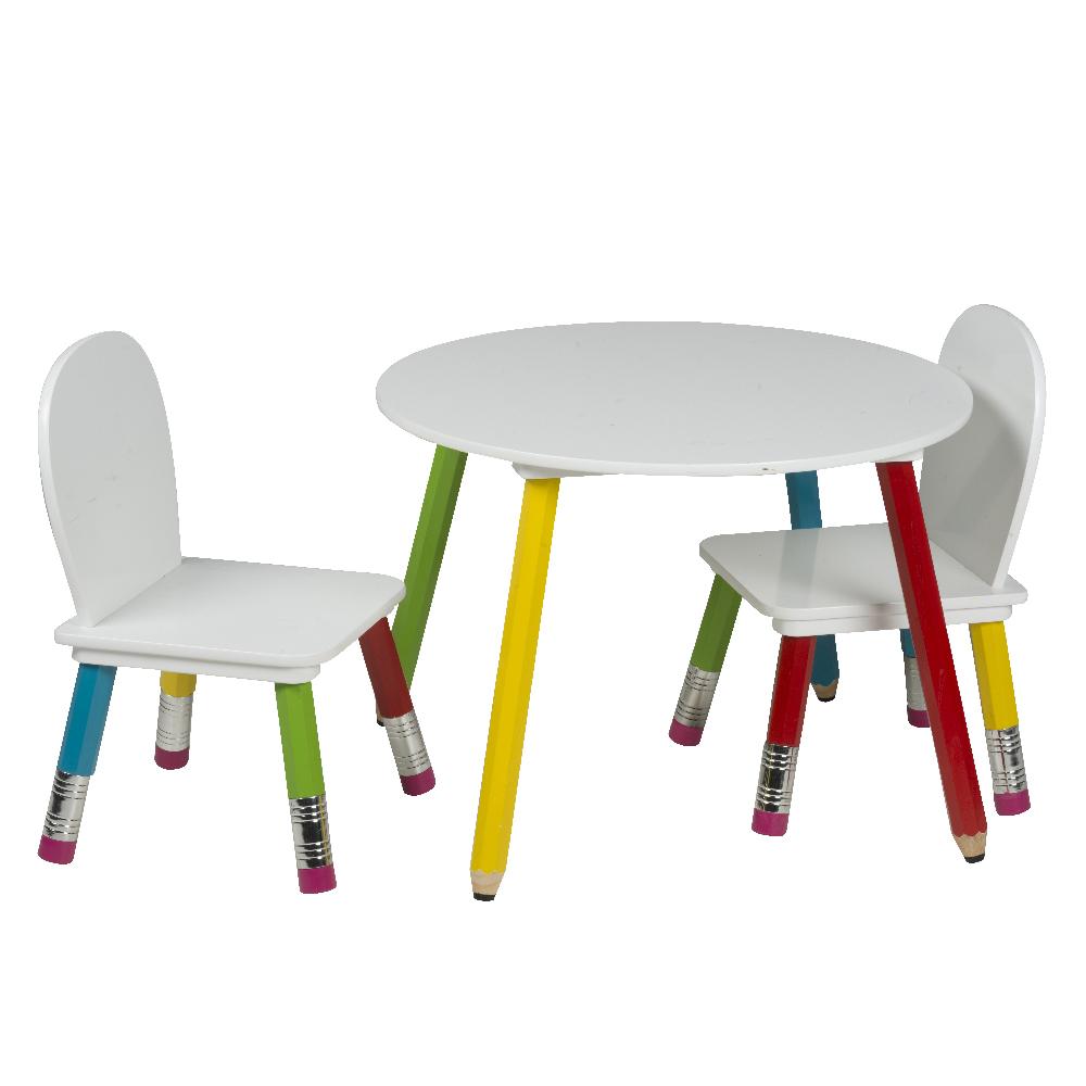 Ensemble table et chaises enfants Pieds crayons de couleurs