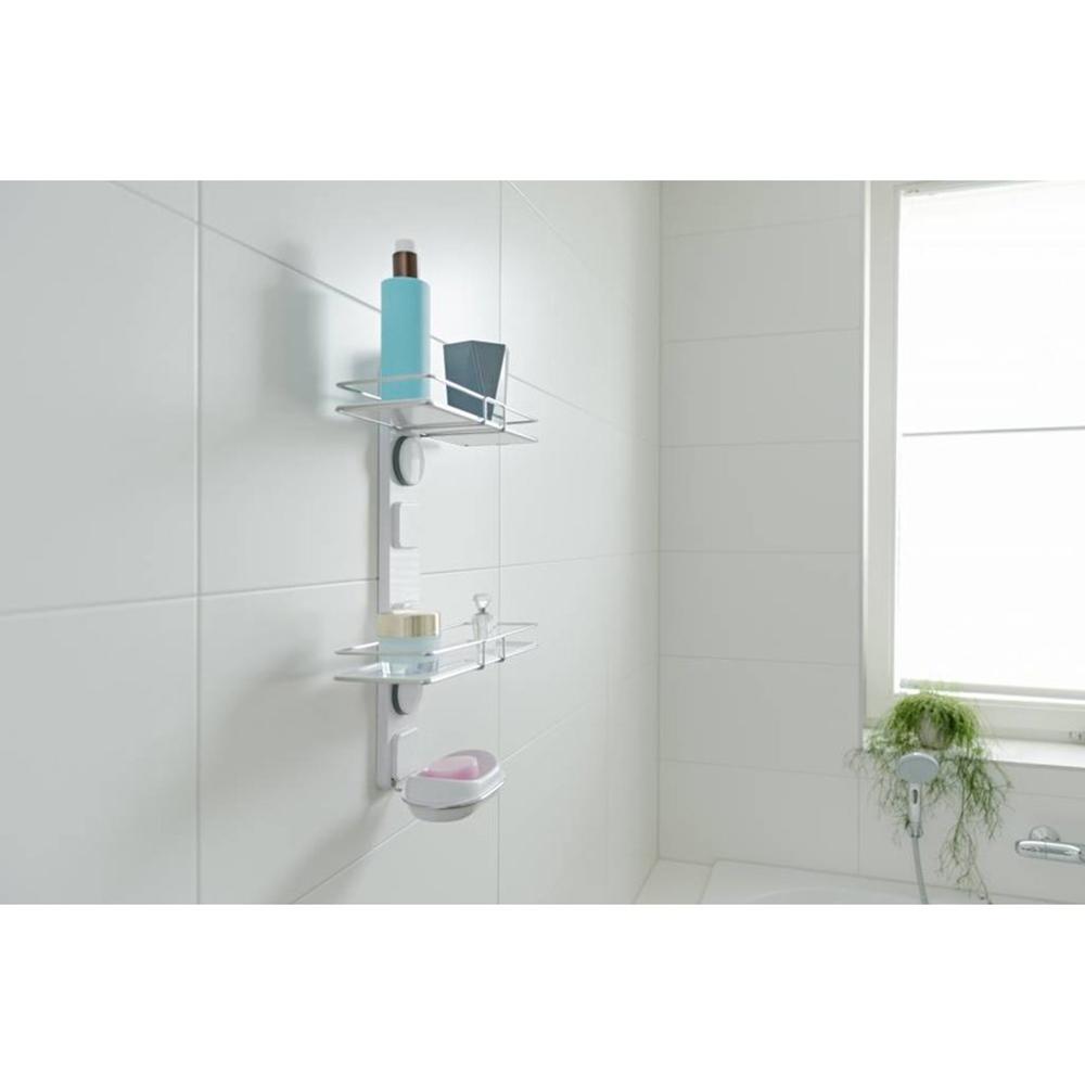 Support de rangement mural pour salle de bain avec ventouses