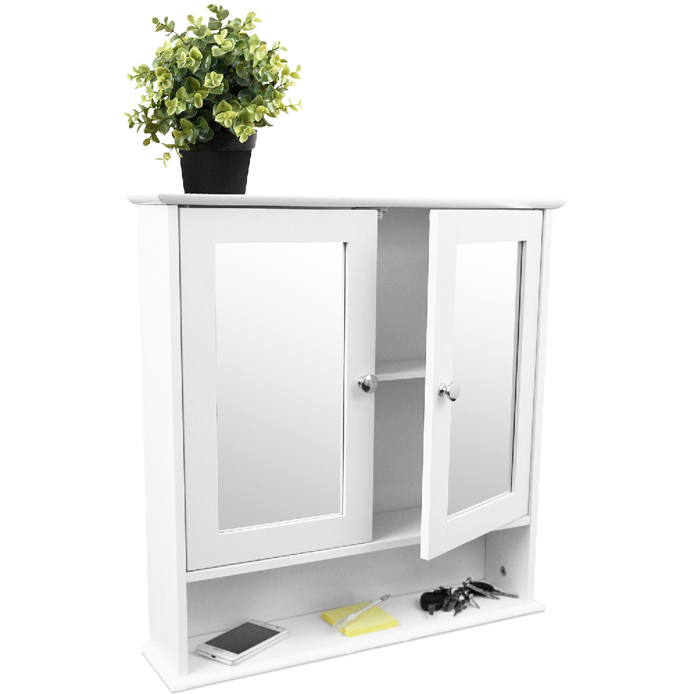 Hauteur Armoire De Toilette armoire de toilette 2 portes avec miroirs et étagère