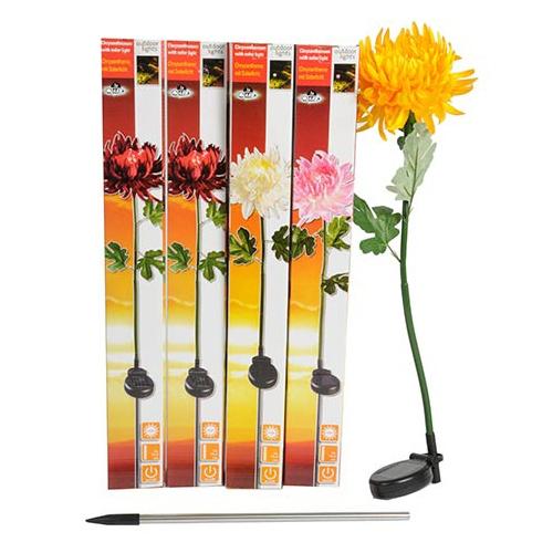 Lampe solaire de jardin led chrysanth me rouge maison fut e - Lampe de jardin led ...