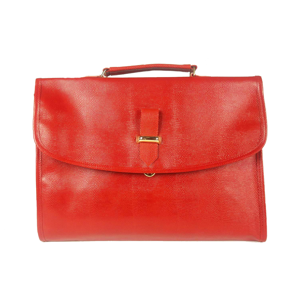 Serviette porte-documents simili cuir rouge