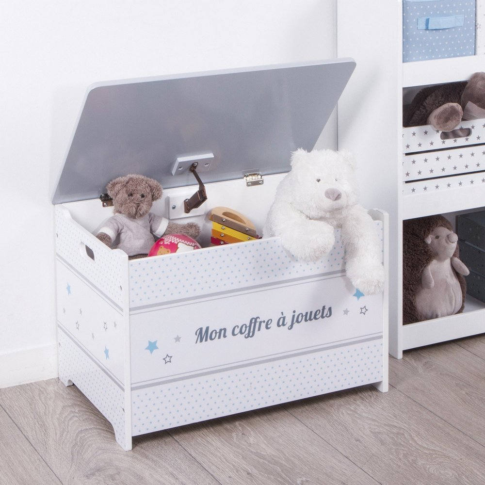 coffre jouets en bois gris maison fut e. Black Bedroom Furniture Sets. Home Design Ideas
