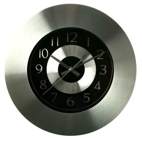 Horloge aluminium noir maison fut e - Pendule murale design inox ...