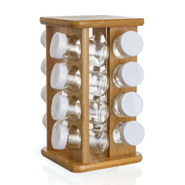 pr sentoir tourniquet en bambou et ses 16 pots pices maison fut e. Black Bedroom Furniture Sets. Home Design Ideas