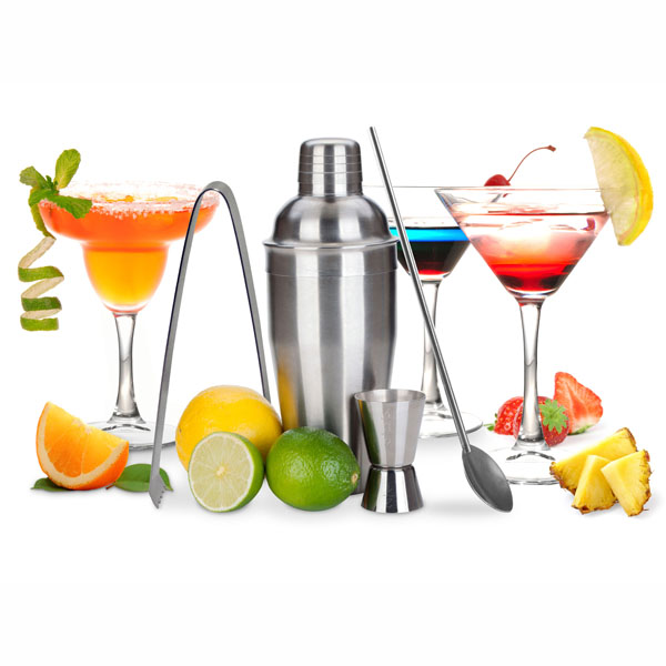 Kit cocktails shaker doseur pince et cuill re maison for Sur la table cocktail shaker