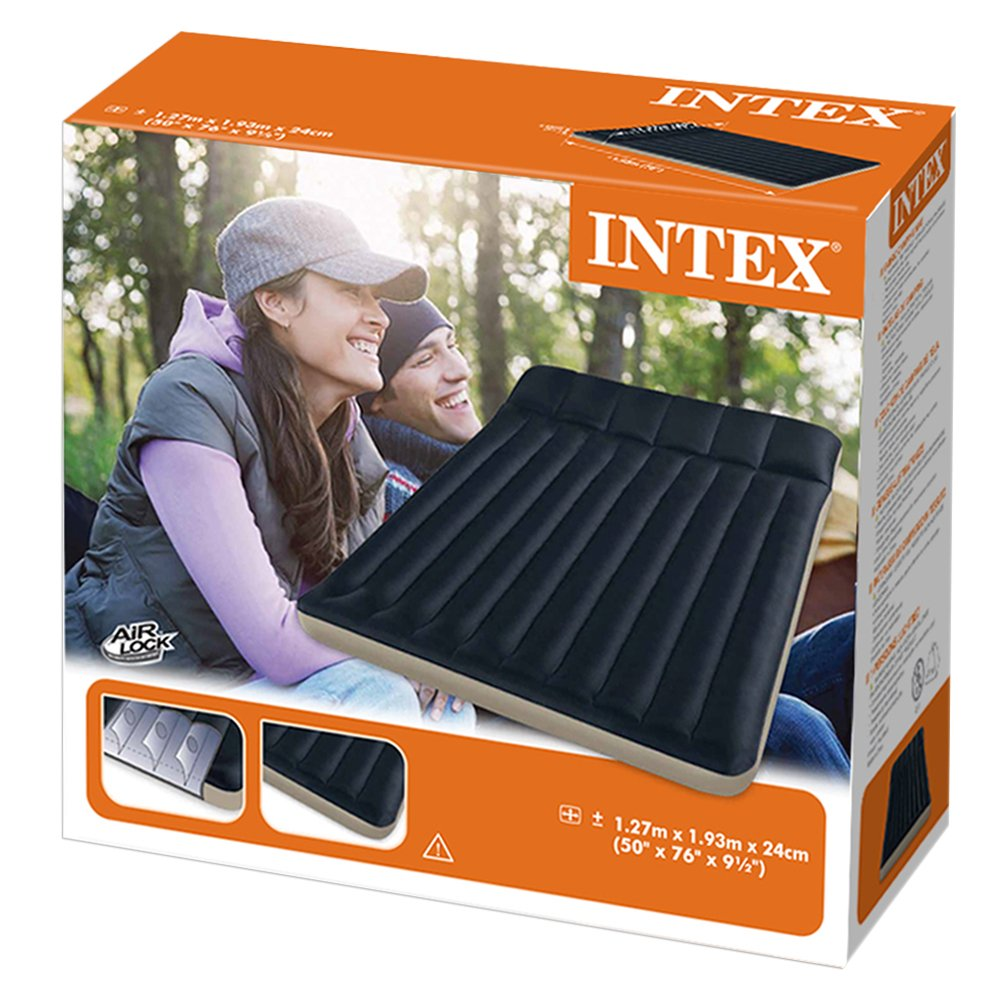 Matelas camping gonflable 2 places avec oreiller - INTEX V2