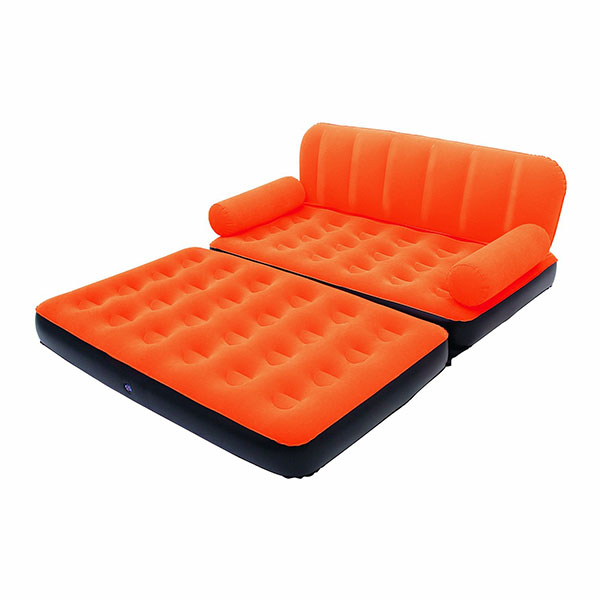 Canap lit gonflable 4 en 1 orange pompe incluse for Canape gonflable