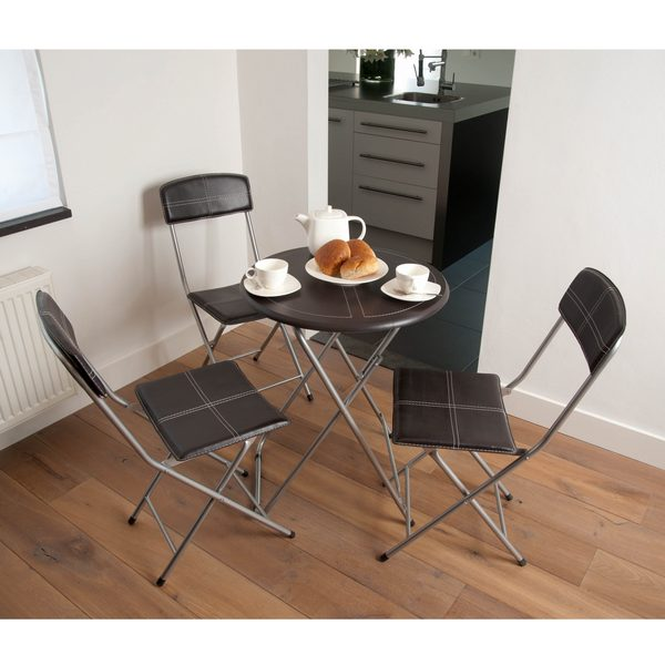 ensemble coin repas table 3 chaises pliables marron maison fut e. Black Bedroom Furniture Sets. Home Design Ideas