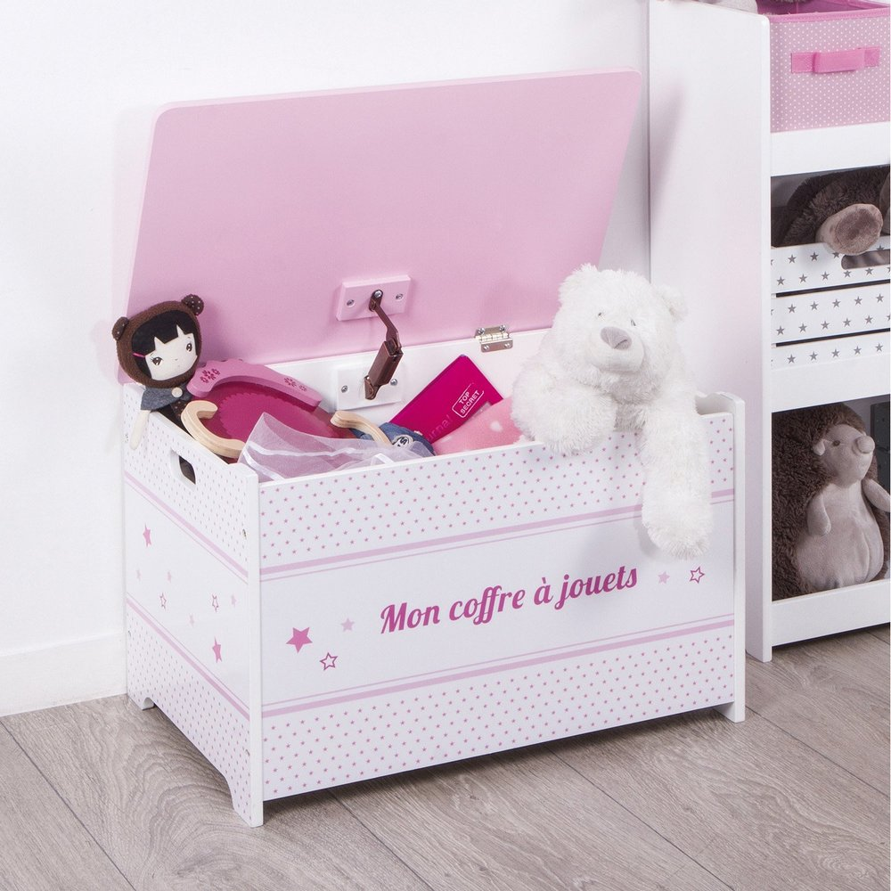 Coffre à jouets en bois Rose - Maison Futée