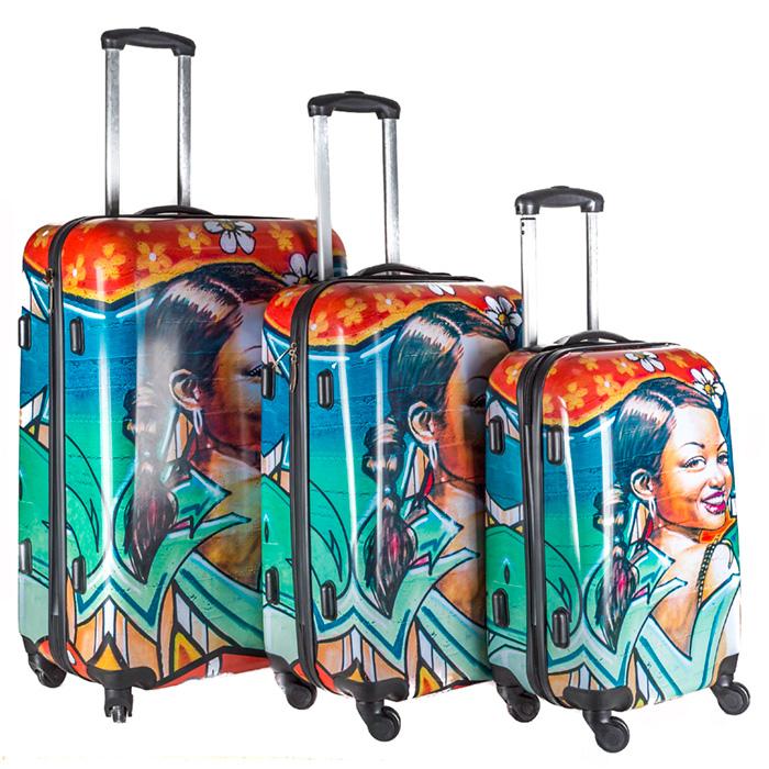 valise rigide 4 roulettes set de 3 street girl maison fut e. Black Bedroom Furniture Sets. Home Design Ideas