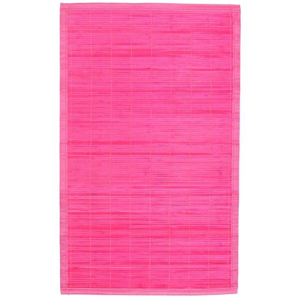 Tapis en Bambou à lattes fines - 45 x 75 cm rose - Maison Futée