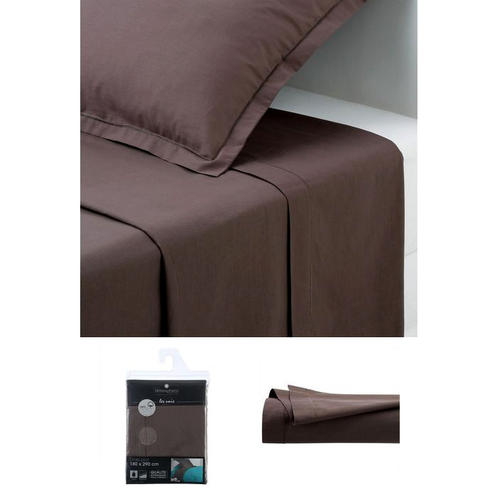 drap plat 2 personnes 240x290 cm 100 coton chocolat maison fut e. Black Bedroom Furniture Sets. Home Design Ideas