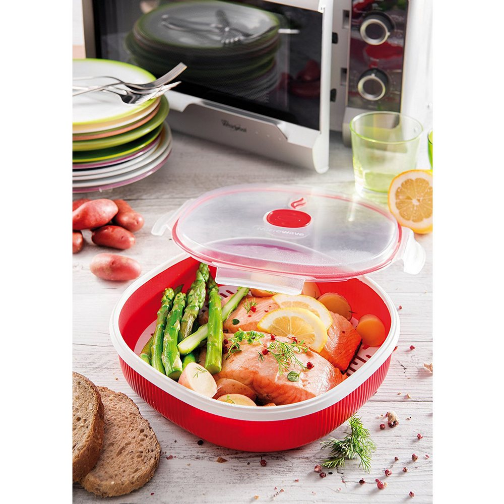 Cisaille micro-onde, Plastique, Red, Steamer 2L